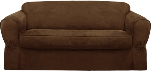Maytex Piped Suede 2-Piece Slipcover Sofa, Brown