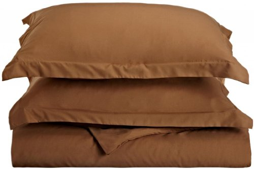 Clara Clark 1500 Series Duvet Cover Full Queen Size, Mocha Chocolate (Light Brown)