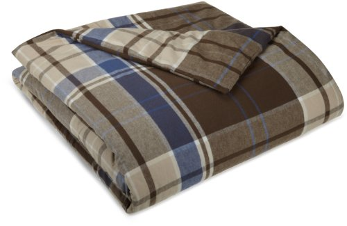 Pinzon 160-Gram Yarn-Dye Flannel Duvet Cover, Full/Queen, Brown Plaid
