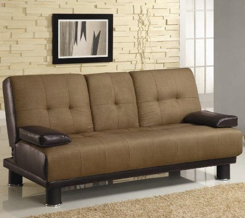Brown Microfiber/Vinyl Leather Finish Sofa Bed by Coaster 300134