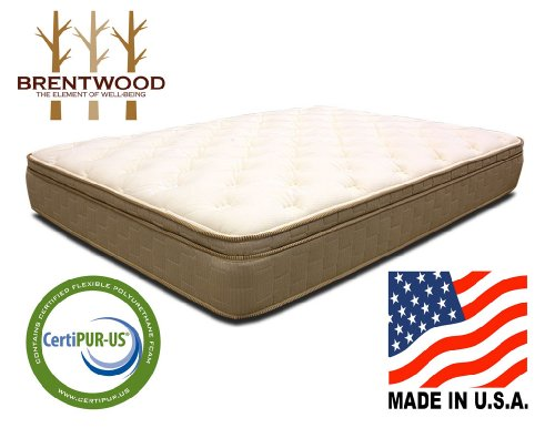 Brentwood Finale 11-Inch Quilted Eurotop Inner Spring Mattress, Made in the USA, Queen Size