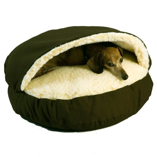 Snoozer Cozy Cave Pet Bed Small (Olive/Cream Sherpa). Mattress, Bed, Futon, Heated, Cooling