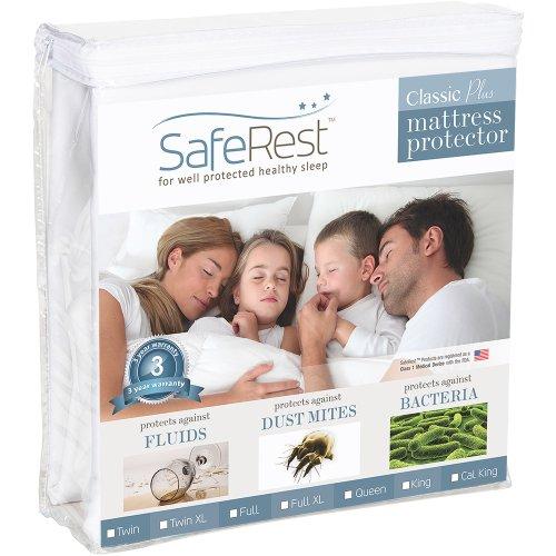 Queen Size SafeRest Classic Plus Hypoallergenic 100% Waterproof Mattress Protector – Vinyl Free