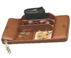 Large Imported Leather Dresser Valet with 2 Covers Brown