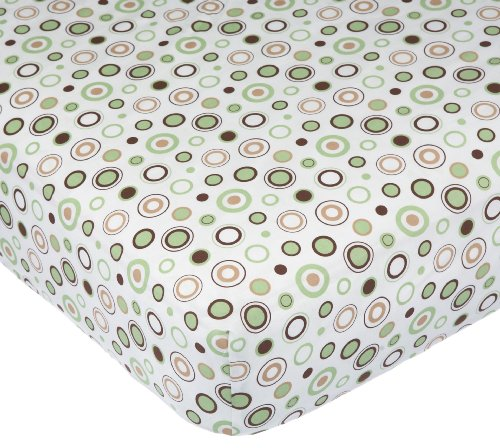Carter's Easy Fit Printed Crib Fitted Sheet, Ecru/Brown Circles