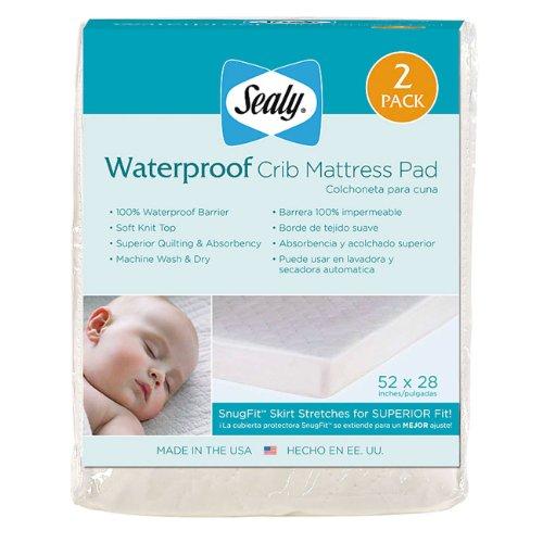 Sealy Waterproof Crib Mattress Pad, 2-Pack