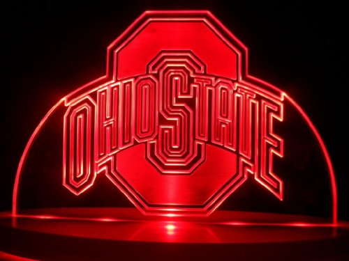 Ncaa Ohio State Buckeyes LED Desk Lamp Night Lighting Beer Bar Bedroom Gameroom Signs (Red)