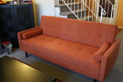 Rust Orange Full Sized with Arms Convertible Sofa High Quality High Density Futon Klik Klak