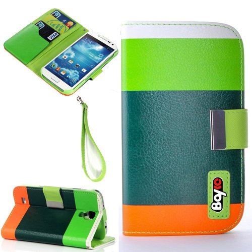 Bayke Brand Samsung Galaxy S4 Galaxy SIV i9500 Fashion Designer Colorful PU Leather Wallet Case with Strap with Stand with Magnetic Clip with Credit Card Slots & Holder (Green+Dark Green+Orange)