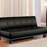 Futon Sofa Bed with Button Tufted Design in Black Vinyl Leather Finish