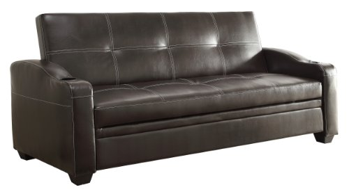 Homelegance 4829DB Convertible/Adjustable Sofa Bed, Bi-Cast Vinyl, Dark Brown