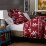 Pinzon 160-Gram Printed Cotton Flannel Full/Queen Duvet Cover, Snowflake Bordeaux