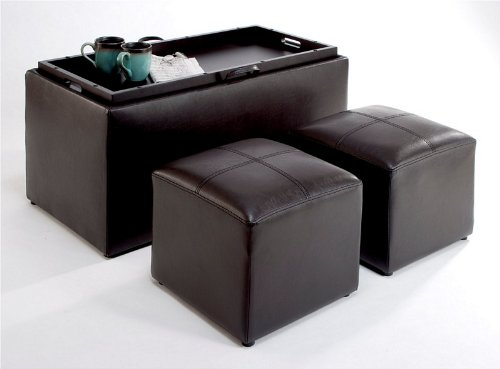 Convenience Concepts 143012 Sheridan Faux Leather Storage Bench with 2 Side Ottomans, Dark Espresso