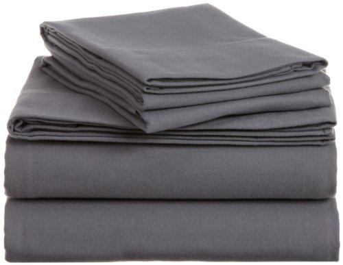 Pinzon Signature 190-Gram Cotton Velvet Flannel Queen Bed Sheet Set, Graphite