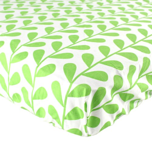 Luvable Friends 100% Woven Cotton Crib Sheet, Green Leaf