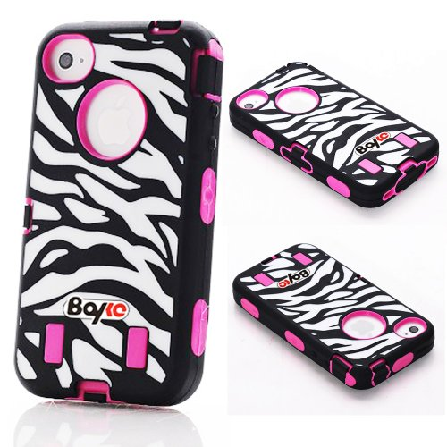 Bayke Brand Premium Armorbox Armor Defender Case for Apple iPhone 4 4G 4S Fashion Zebra Combo Print High Impact Dual Layer Hybrid Full-body Protective Case with Built-in Screen Protector (Hot Pink)