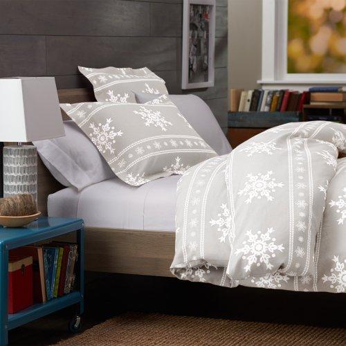 Pinzon 160-Gram Printed Cotton Flannel Full/Queen Duvet Cover, Snowflake Gray