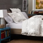 Pinzon 160-Gram Printed Cotton Flannel Full/Queen Duvet Cover, Snowflake Gray