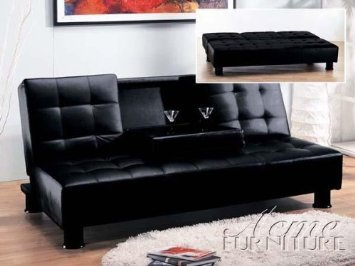 Futon Sofa Bed Black Fold Down Center Vinyl Leather Finish Black Legs Middle Cup Holder Tray