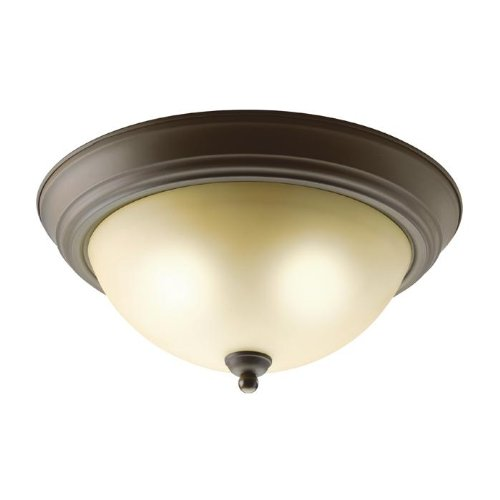 Kichler Lighting 8109OZ Transitional 2-Light Flush Mount Fixture, Old Bronze Finish with Alabaster Swirl Glass