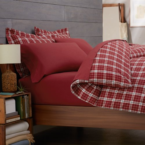 Pinzon 160-Gram Yarn-Dye Flannel Duvet Cover, Full/Queen, Bordeaux Plaid