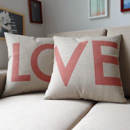 Ojia 18 X 18″ Cotton Linen Decorative Couple Throw Pillow Cover Cushion Case Couple Pillow Case, Set of 2 – Love