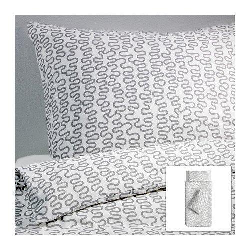 Ikea Krakris Abstract Gray White Twin 2pc Duvet Quilt Cover Set Modern
