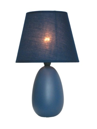 Simple Designs LT2009-BLU Oval Ceramic Table Lamp, Small, Blue