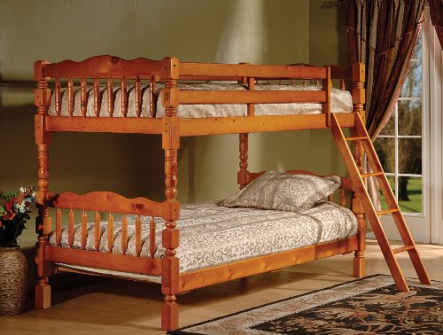 Honey Finish Wood Spindle Post Design Twin Size Convertible Bunk Bed (Bunkbed)