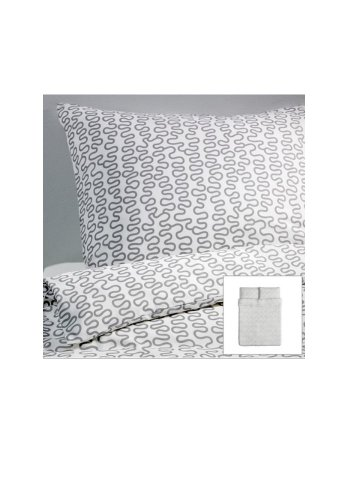 Ikea Kråkris 3pc Duvet Cover and Pillowcase(s), Gray/white Full/queen