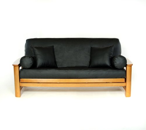 Lifestyle Covers Black Faux-Leather Futon Cover,Full Size