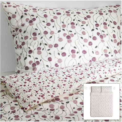 Ikea Cottage Majviva Purple Gray Lilac Floral Duvet Quilt Cover Full Queen