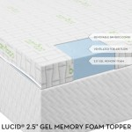 2.5″ Lucid® by LinenSpa Gel Infused Ventilated Memory Foam Mattress Topper with Removable Bamboo Cover 3-Year Warranty