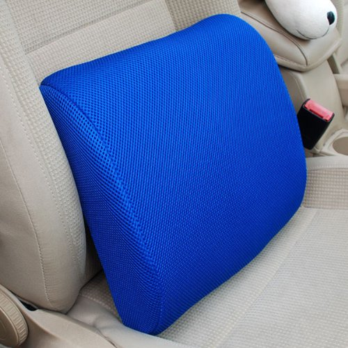 THG High Resilient Memory Foam Blue Seat Back Pain Support Cushion Pillow Pad Car Office Chair Lumbar Lower ache