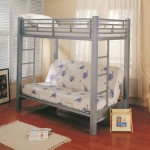 Twin / Futon metal bunk bed in silver finish metal frame