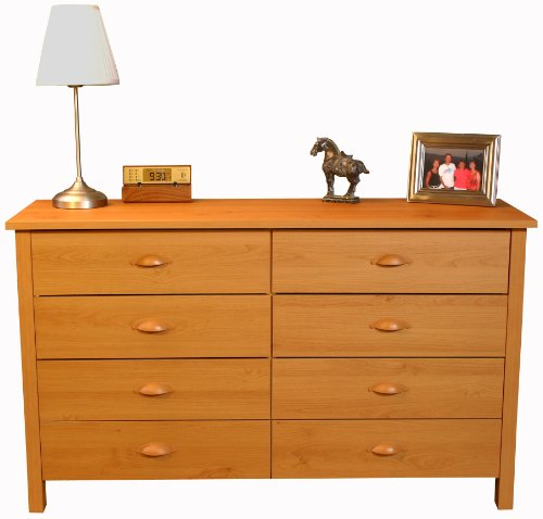 Nouvelle 8-Drawer Lowboy Chest (Oak) (31″H x 52.5″W x 16″D)