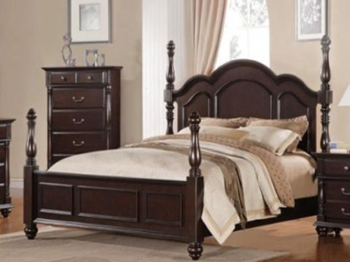 Townsford Queen Bed by Home Elegance in Dark Cherry