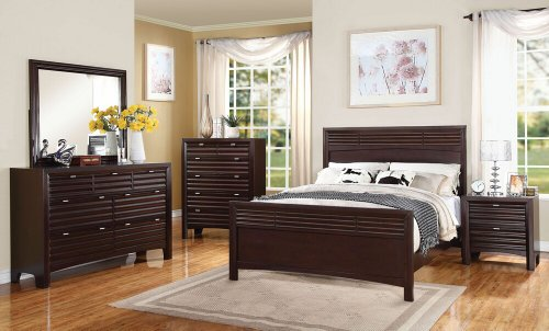 5 pc Cayden collection merlot finish wood queen size headboard and footboard bedroom set