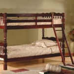 Cherry Finish Wood Spindle Post Design Twin Size Convertible Bunk Bed (Bunkbed)
