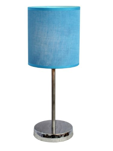 Simple Designs LT2007-BLU Basic Table Lamp with Blue Shade, Chrome
