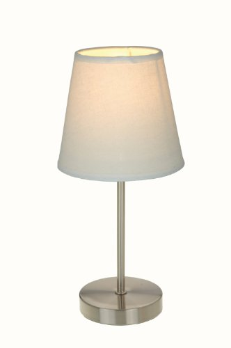 Simple Designs LT2013-WHT Sand Nickel Basic Table Lamp, White Shade