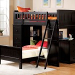 Black finish wood loft bunk bed set with desk and drawers and lower twin bed