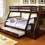 Ellington dark walnut finish wood Twin over Full bunk bed with staircase end with storage drawers