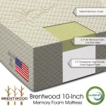 Brentwood 10″ HD Memory Foam Mattress – 100% Made in USA – CertiPur Foam – 25-Year Warranty, Natural Bamboo Cover, Twin Size 38 x 75 x 10