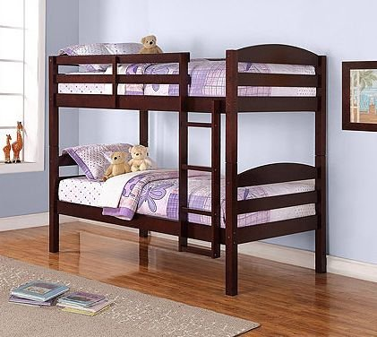 Twin over Twin Wood Bunk Bed, Espresso Finish