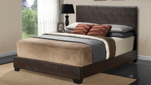 Cappuccino – Queen Size – Modern Headboard Leather Look Upholstered Platform Bed