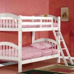 White Finish Wood Arched Design Twin Size Convertible Bunk Bed