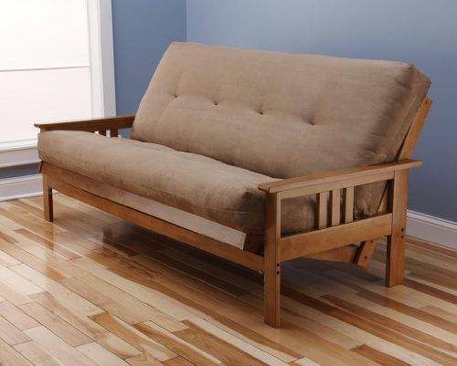 Andover Full Size Futon Sofa Bed, Honey Oak Wood Frame, Suede Innerspring Mattress, Peat