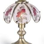 ORE International K317 Glass Roses Scene Touch Lamp, Antique Brass