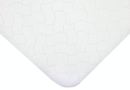 American Baby Company Waterproof Embossed Quilt-like Flat Twin Size Protective Pad Cover, White